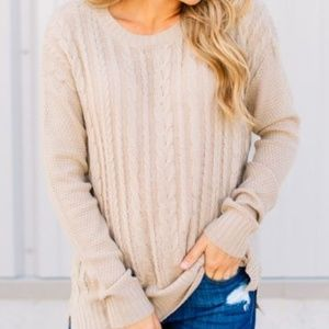 Sweaters - Tan Cable Knit Cardigan
